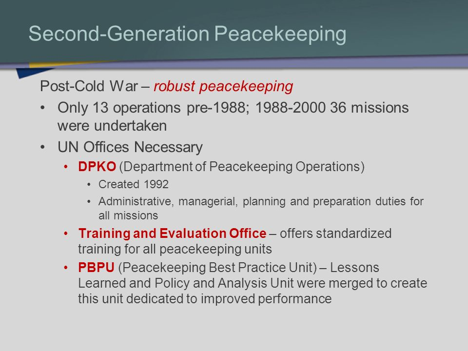 Second-Generation Peacekeeping