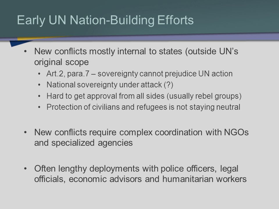 Early UN Nation-Building Efforts