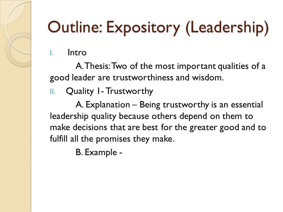 Outline: Expository (Leadership)