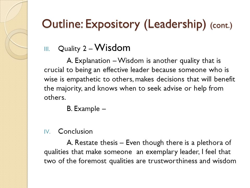 Outline: Expository (Leadership) (cont.)