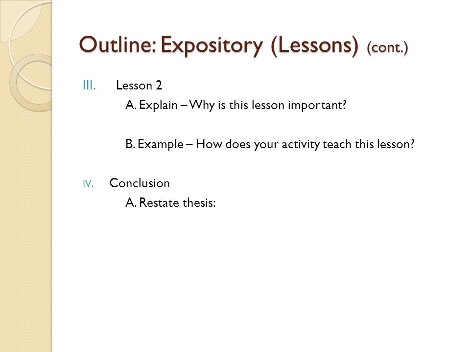 Outline: Expository (Lessons) (cont.)