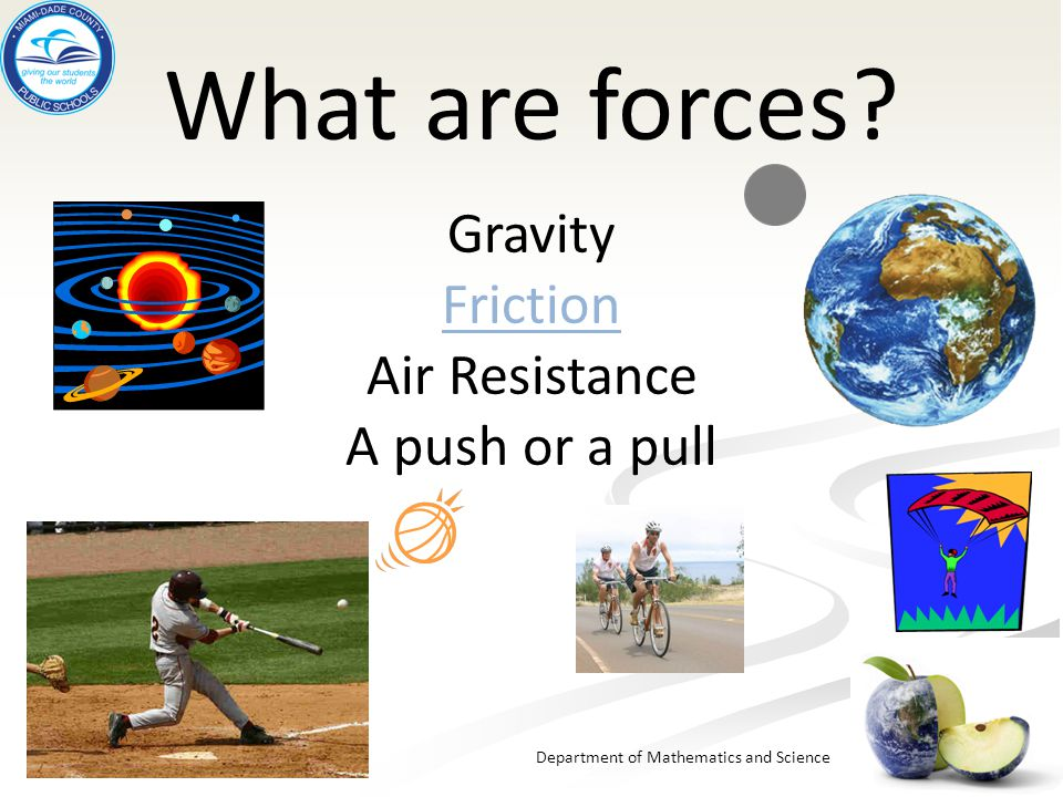 What are forces Gravity Friction Air Resistance A push or a pull