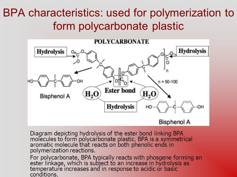BPA characteristics: used for polymerization to form polycarbonate plastic