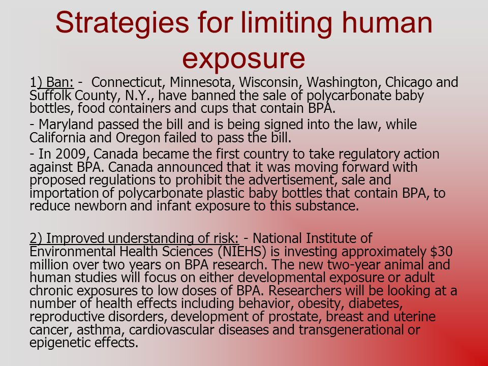 Strategies for limiting human exposure
