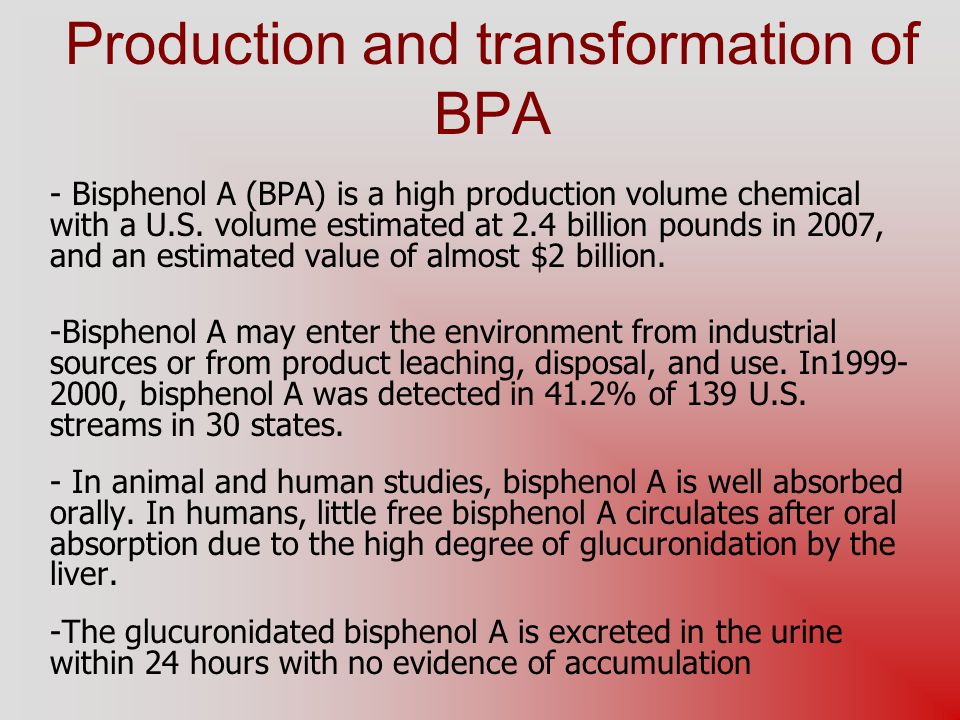 Production and transformation of BPA