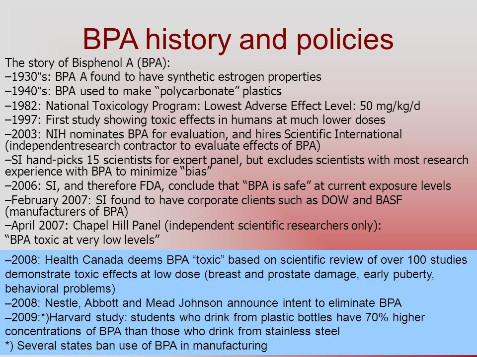 BPA history and policies