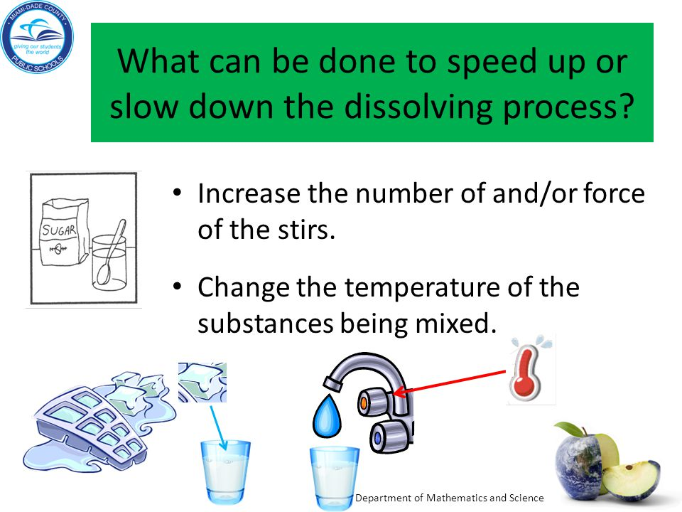 What can be done to speed up or slow down the dissolving process
