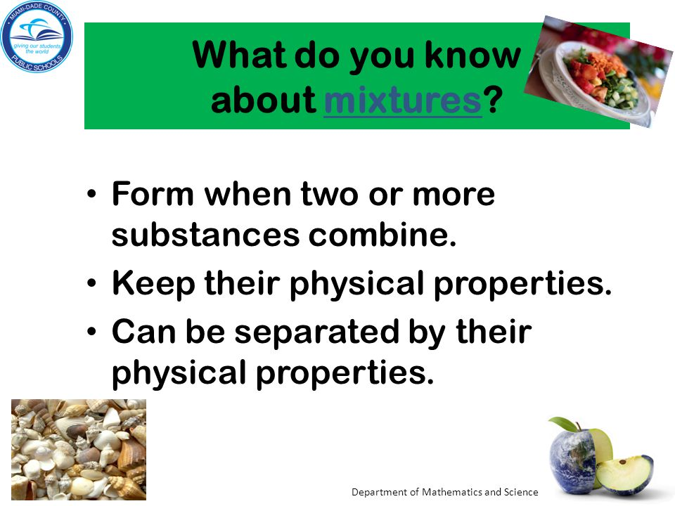 What do you know about mixtures