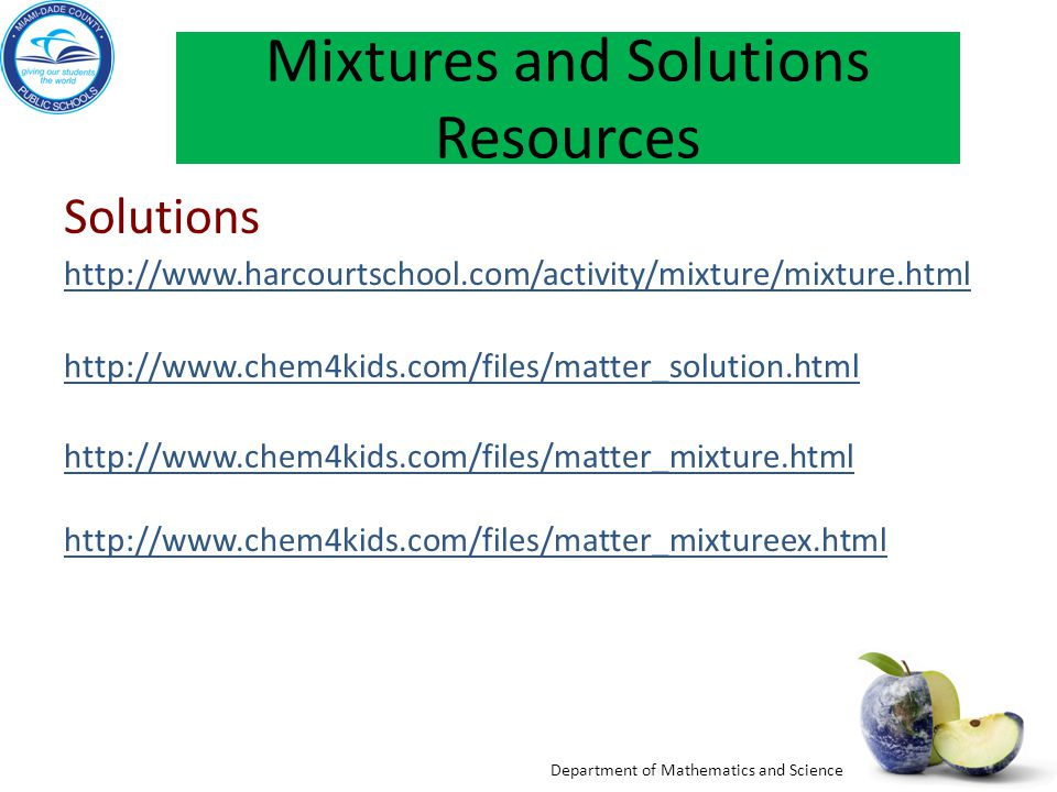 Mixtures and Solutions Resources