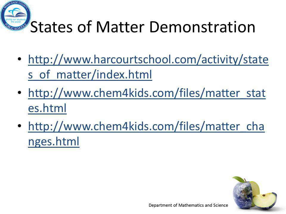States of Matter Demonstration