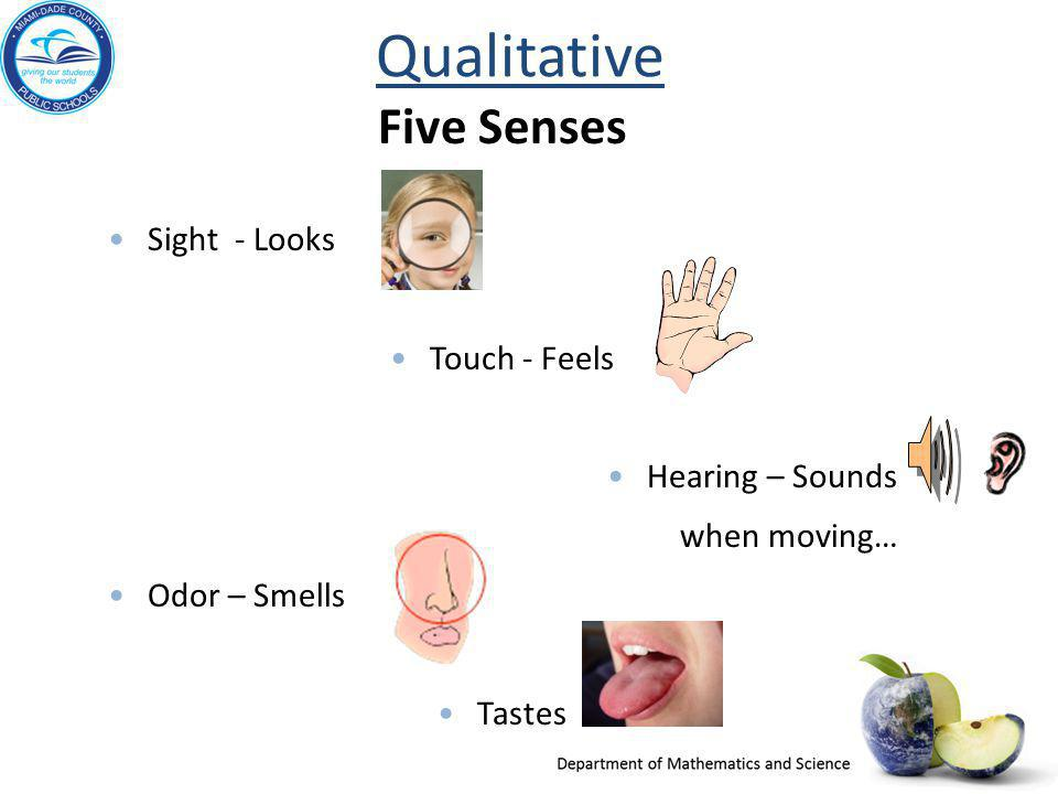Qualitative Five Senses Sight - Looks Touch - Feels Hearing – Sounds
