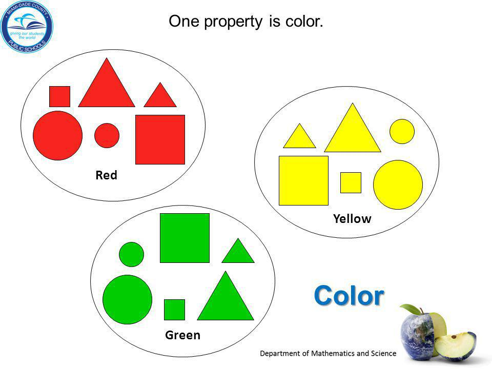 One property is color. Red Yellow Color Green