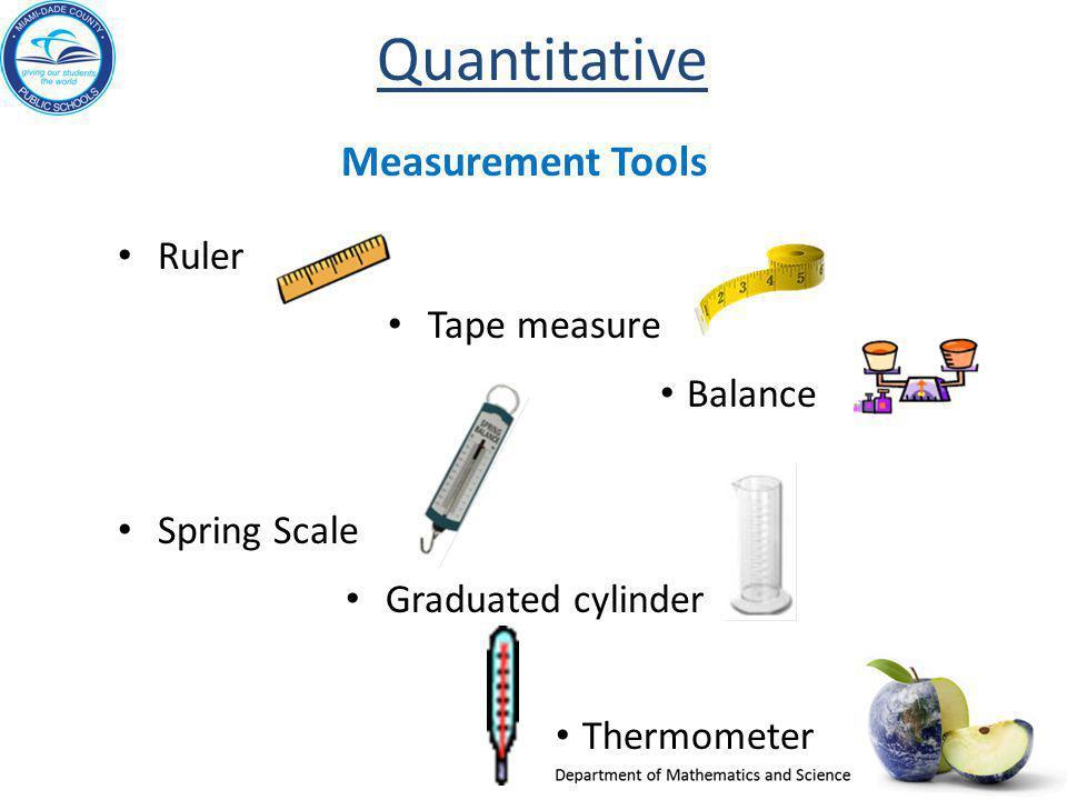 Quantitative Measurement Tools Ruler Tape measure Balance Spring Scale