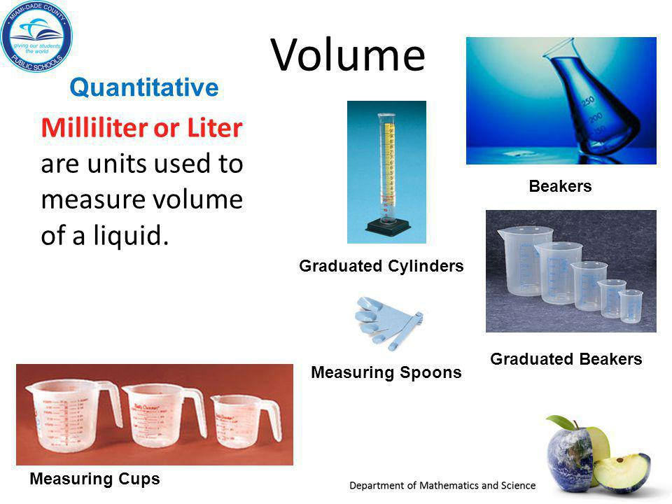 Quantitative Volume. Milliliter or Liter are units used to measure volume of a liquid. Beakers. Graduated Cylinders.