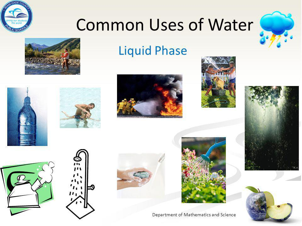 Common Uses of Water Liquid Phase
