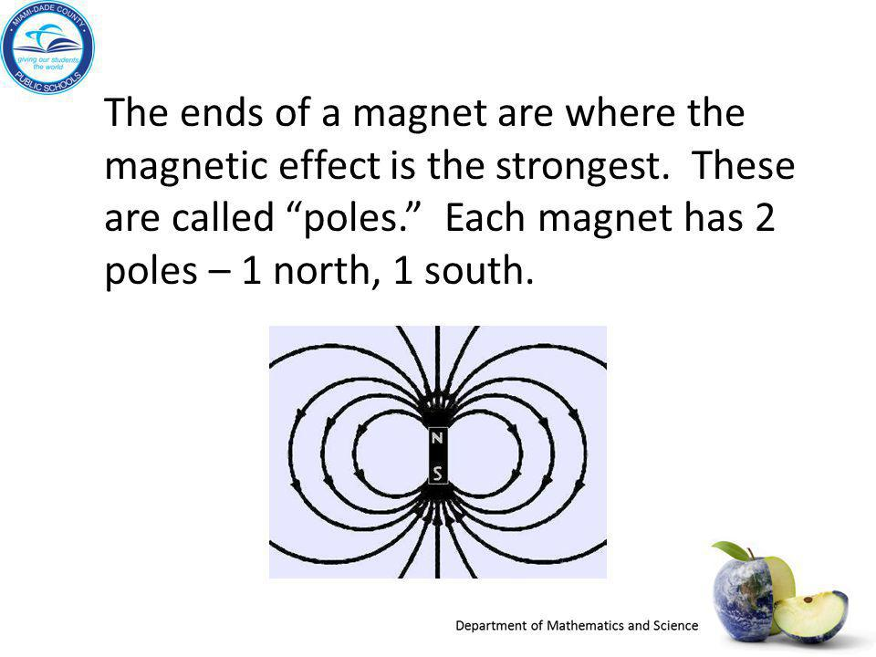 The ends of a magnet are where the magnetic effect is the strongest
