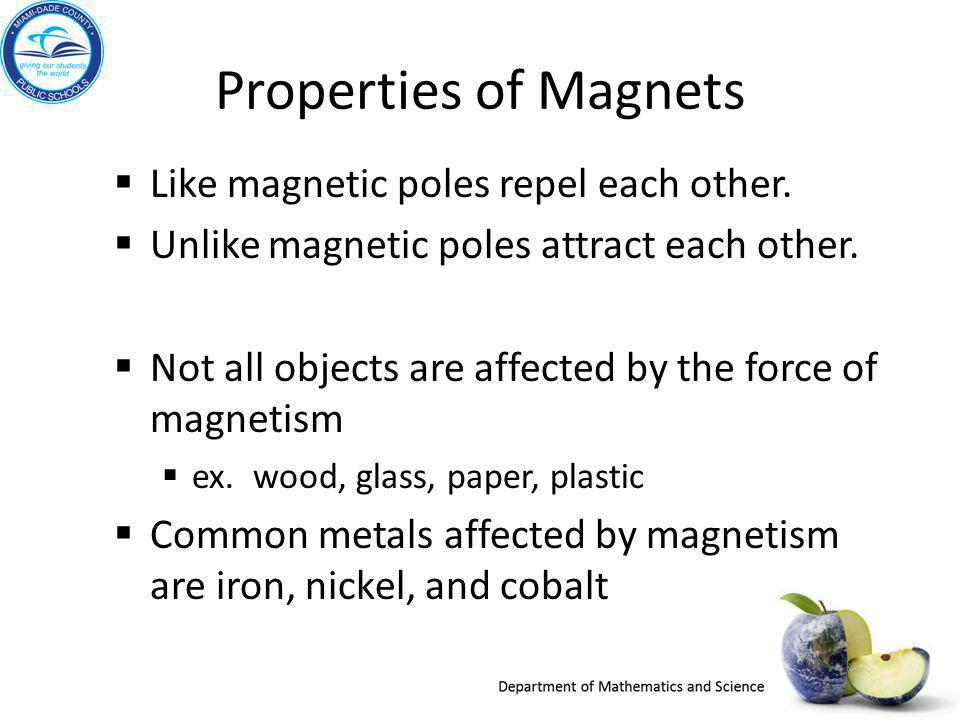 Properties of Magnets Like magnetic poles repel each other.