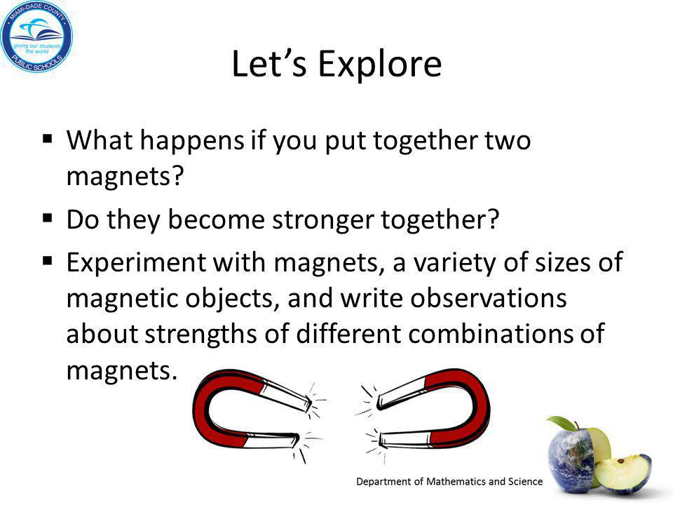 Let's Explore What happens if you put together two magnets