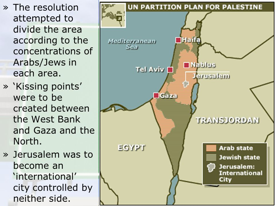 The resolution attempted to divide the area according to the concentrations of Arabs/Jews in each area.