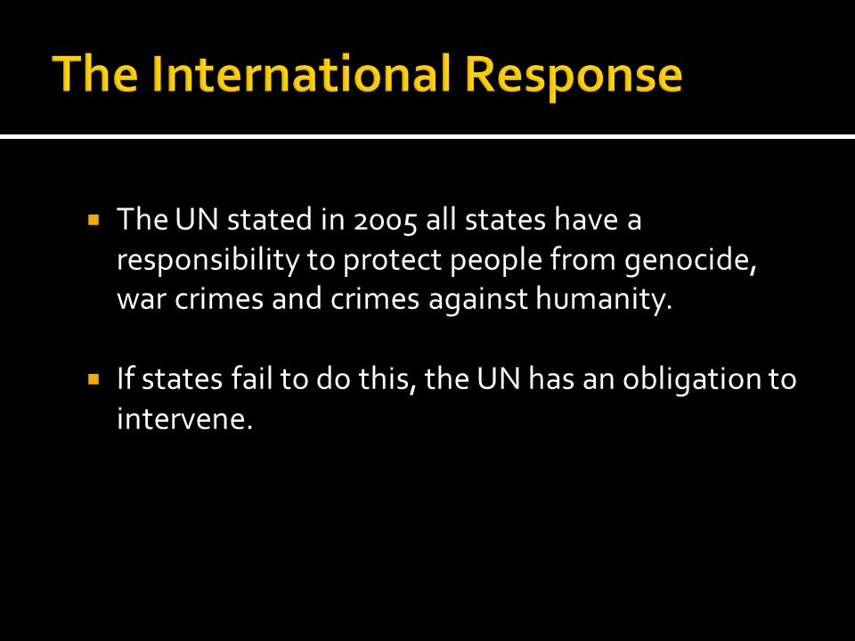 The International Response