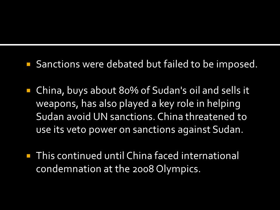 Sanctions were debated but failed to be imposed.