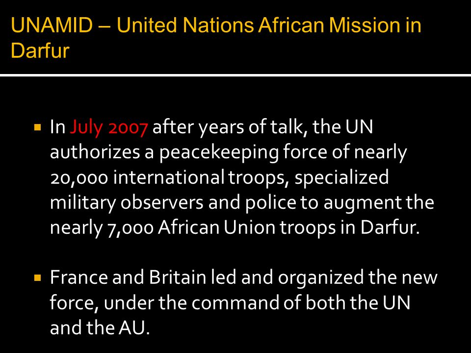 UNAMID – United Nations African Mission in Darfur