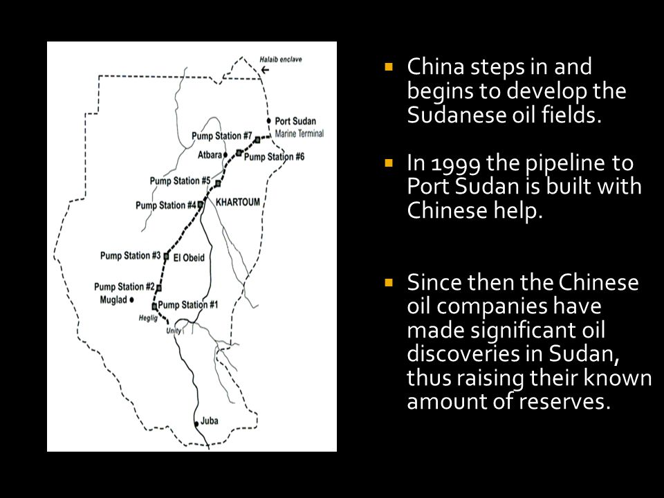 China steps in and begins to develop the Sudanese oil fields.