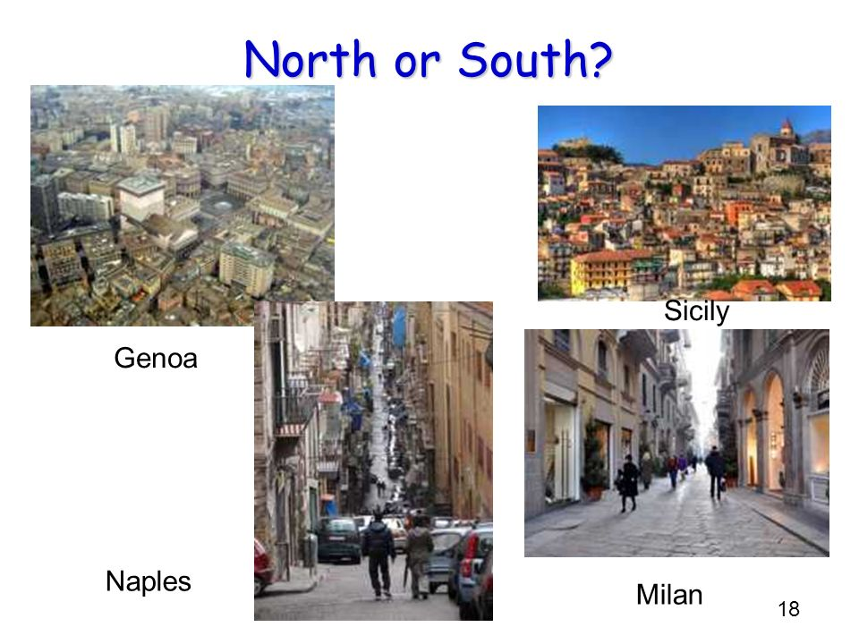 North or South Sicily Genoa L R: N S S N Naples Milan