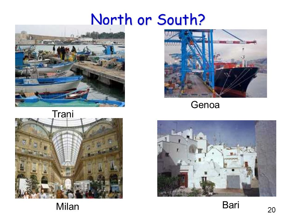North or South Genoa Trani L R: S N N S Milan Bari