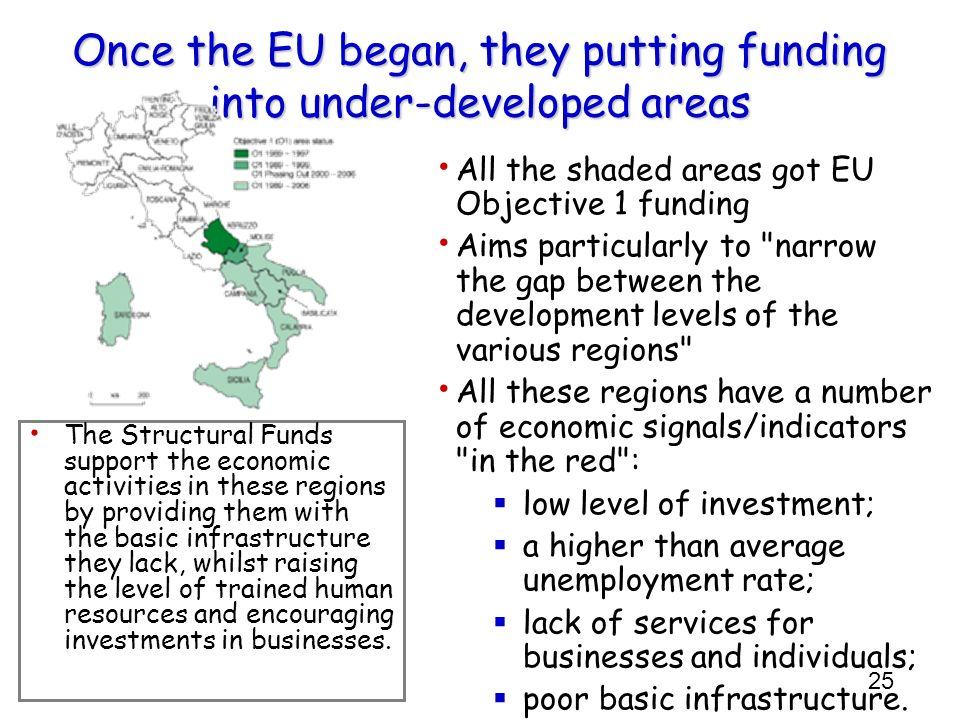 Once the EU began, they putting funding into under-developed areas