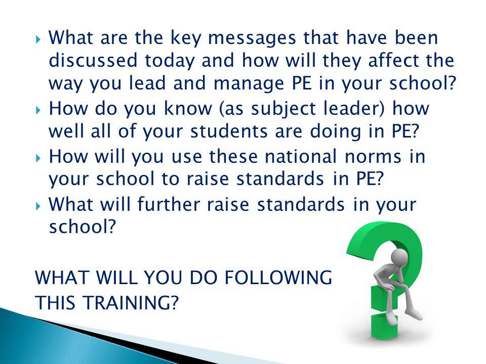 What are the key messages that have been discussed today and how will they affect the way you lead and manage PE in your school