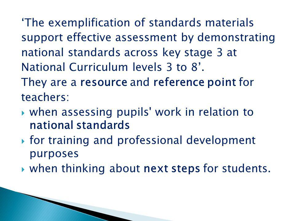 'The exemplification of standards materials