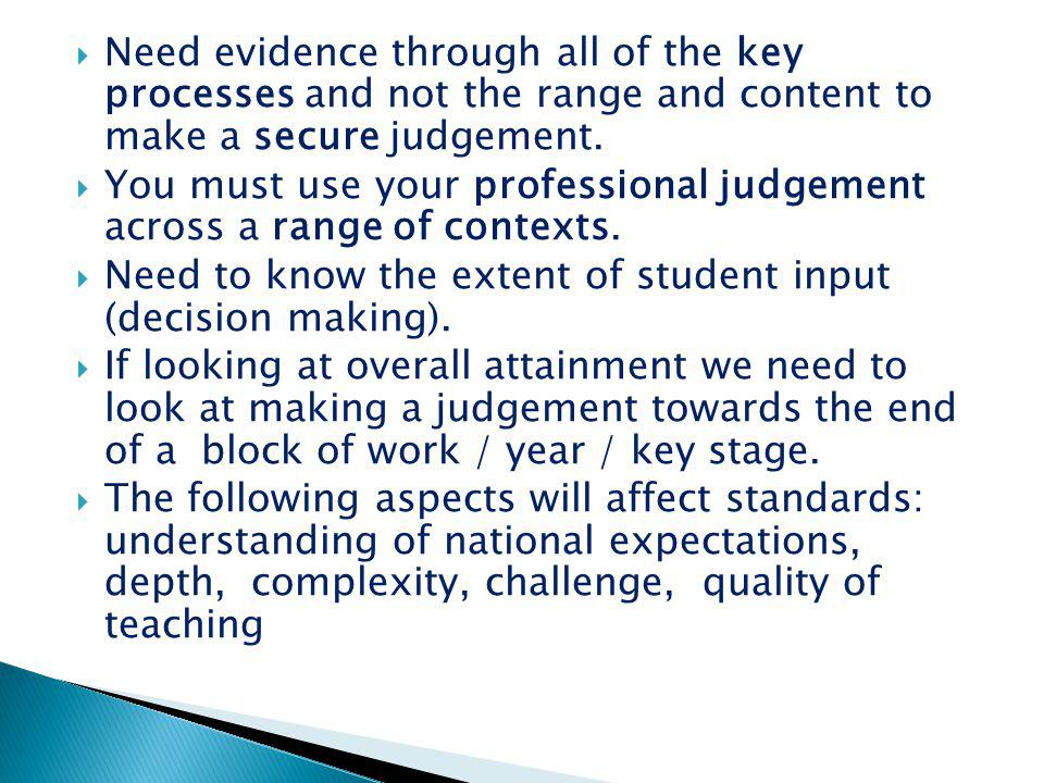 Need evidence through all of the key processes and not the range and content to make a secure judgement.