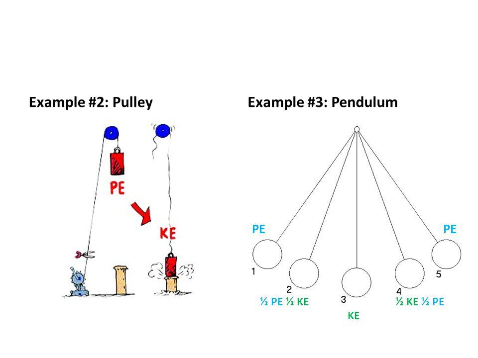 Example #2: Pulley Example #3: Pendulum PE PE ½ PE ½ KE ½ KE ½ PE KE