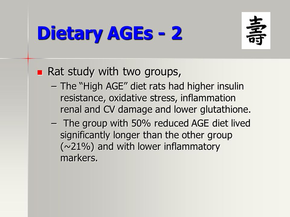 Dietary AGEs - 2 Rat study with two groups,