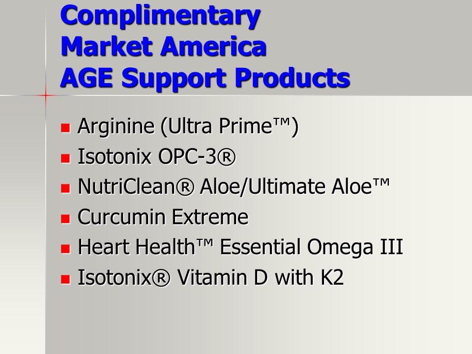 Complimentary Market America AGE Support Products