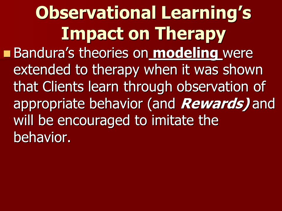 Observational Learning's Impact on Therapy