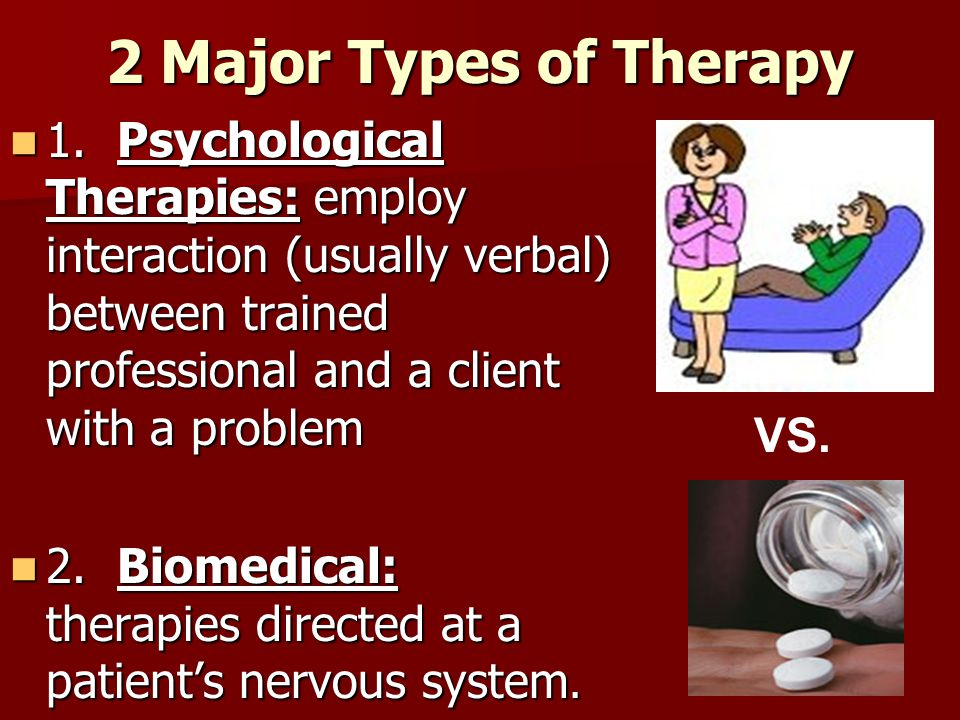 2 Major Types of Therapy 1. Psychological Therapies: employ interaction (usually verbal) between trained professional and a client with a problem.