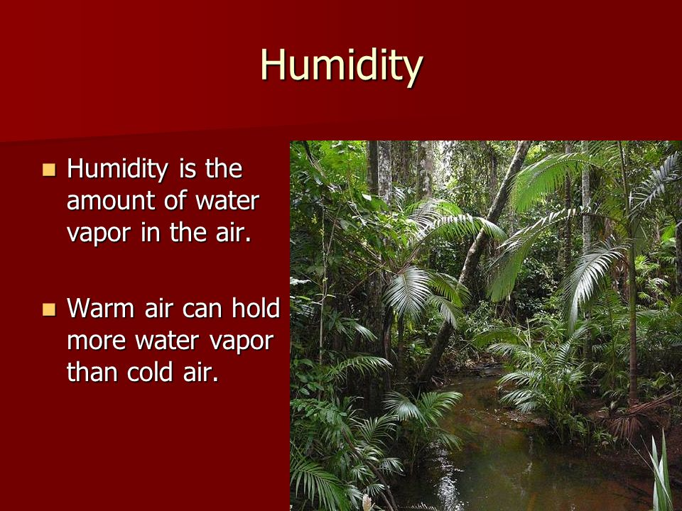 Humidity Humidity is the amount of water vapor in the air.