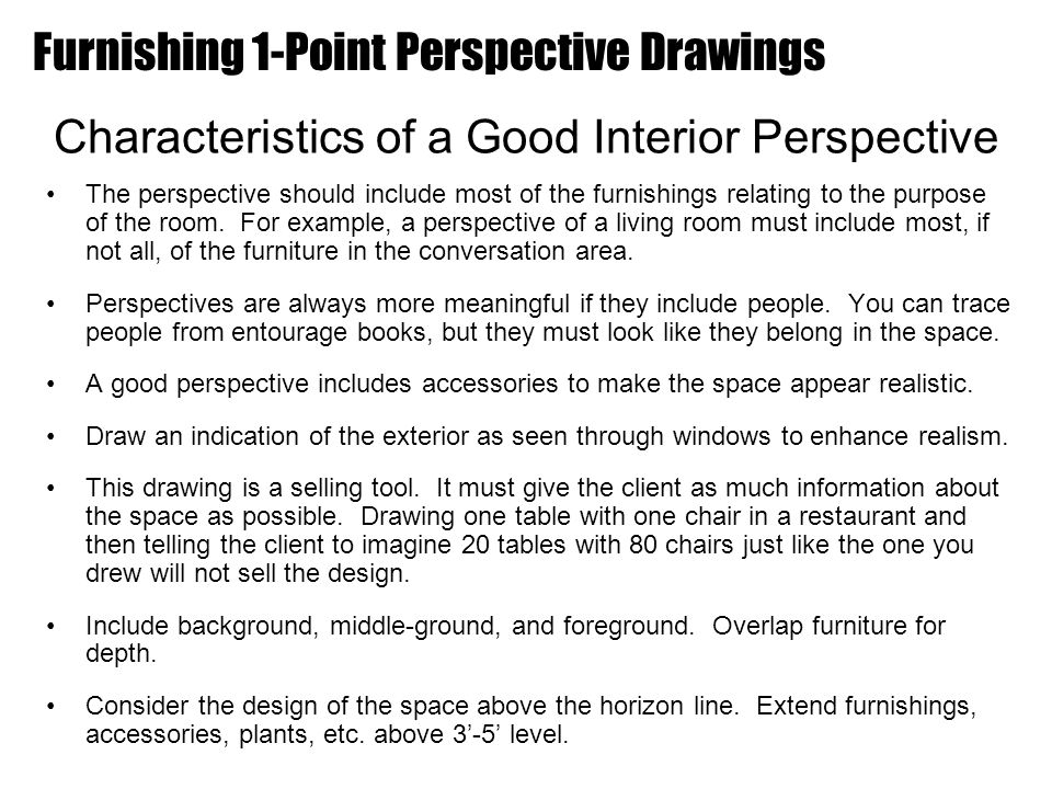 Characteristics Of Line In Art : Furnishing point perspective drawings ppt video online