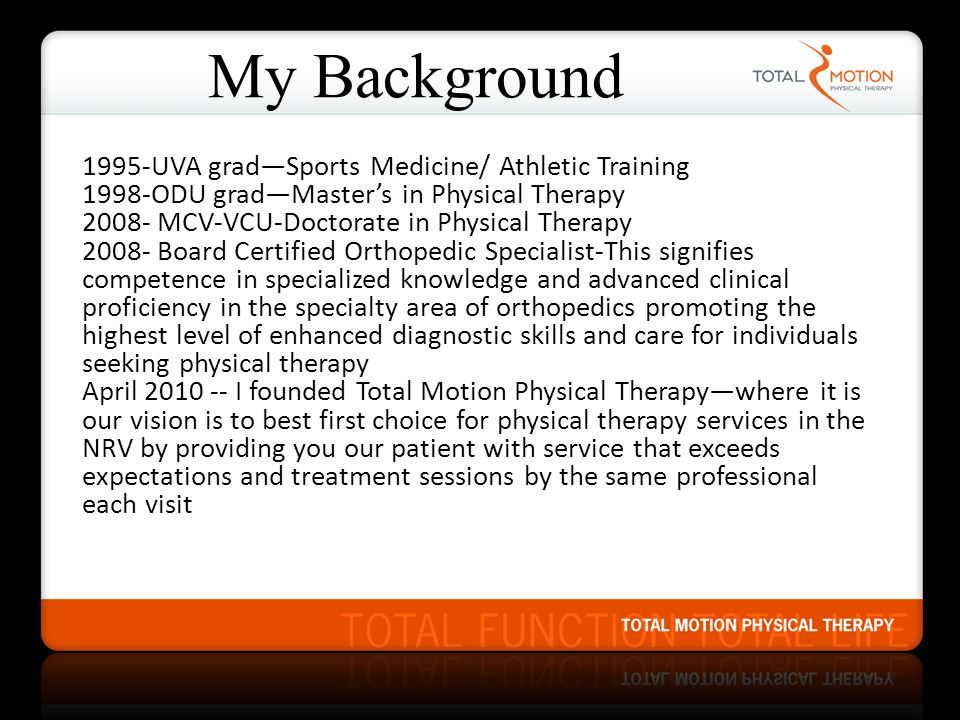 My Background 1995-UVA grad—Sports Medicine/ Athletic Training
