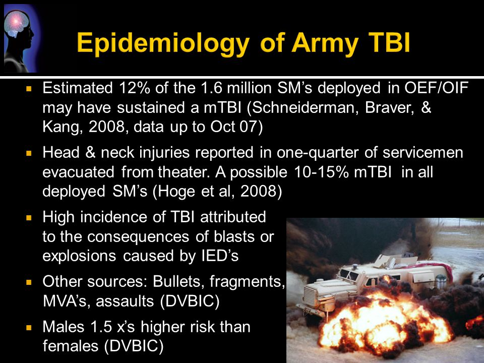 Epidemiology of Army TBI