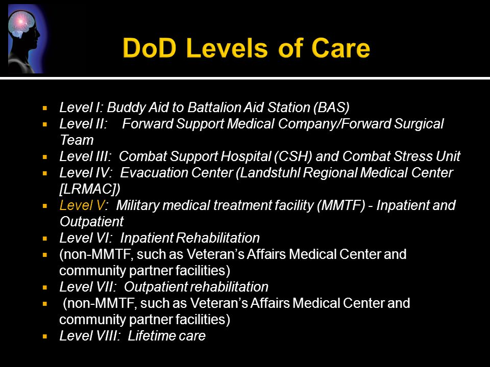 DoD Levels of Care Level I: Buddy Aid to Battalion Aid Station (BAS)