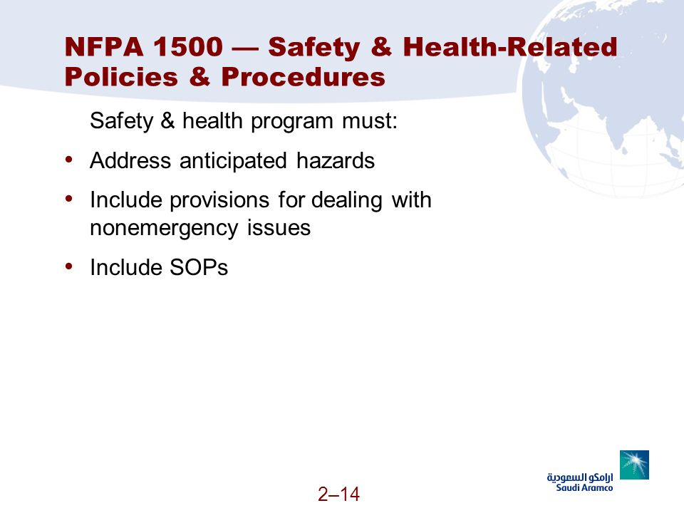 NFPA 1500 — Safety & Health-Related Policies & Procedures