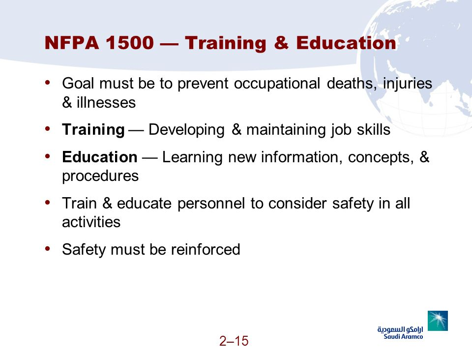NFPA 1500 — Training & Education