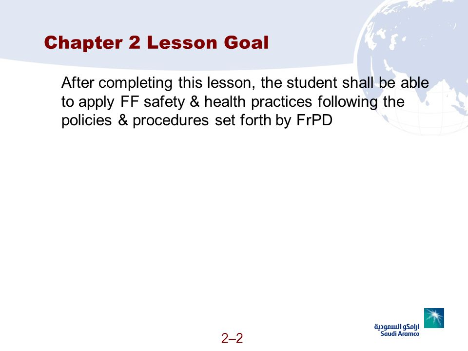 Chapter 2 Lesson Goal