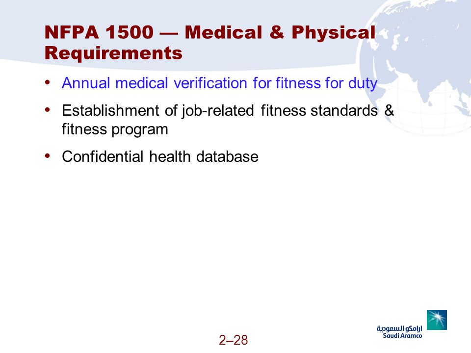 NFPA 1500 — Medical & Physical Requirements