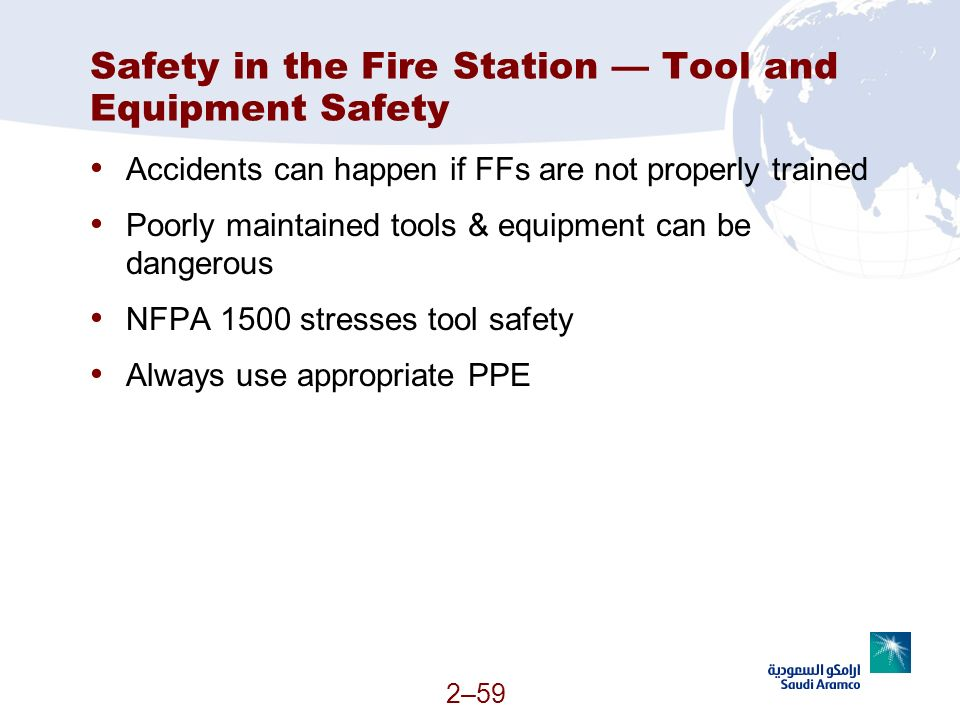 Safety in the Fire Station — Tool and Equipment Safety