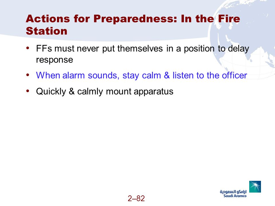 Actions for Preparedness: In the Fire Station