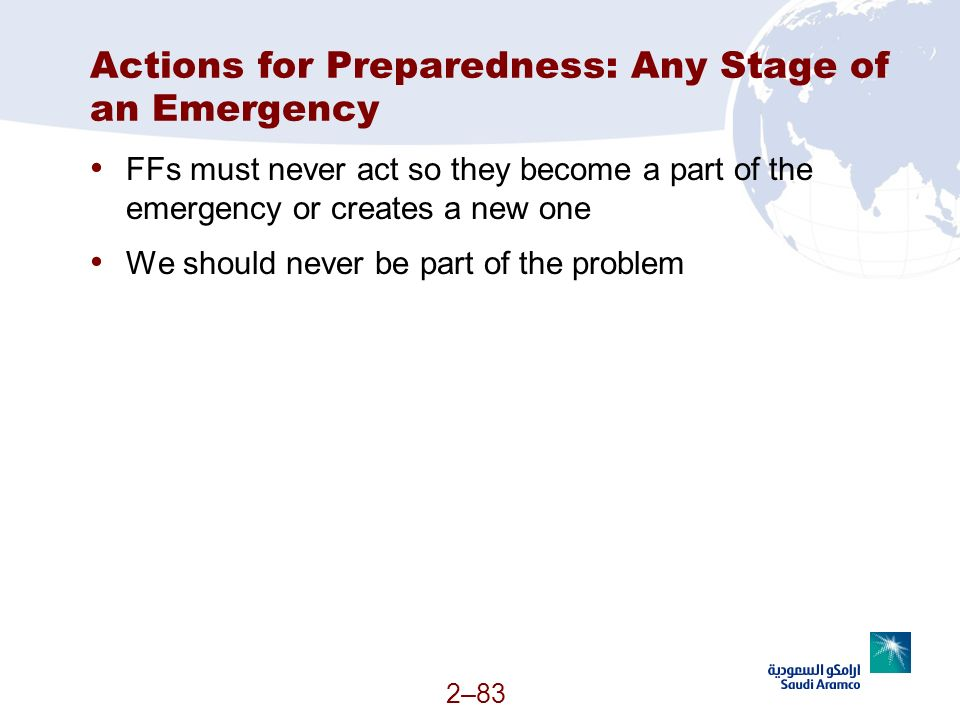Actions for Preparedness: Any Stage of an Emergency